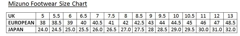 mizuno shoes size table in european size