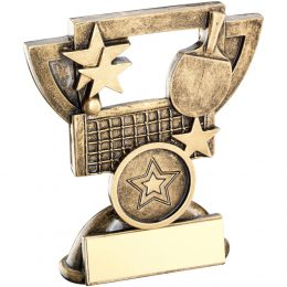 12. Brz/gold table tennis mini cup trophy <br>RRP £5.50 <b>SALE PRICE £4.40</b>