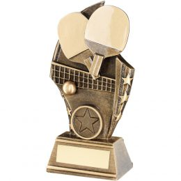 14. Brz/gold table tennis curved plaque trophy <br>RRP £7.75 <b>SALE PRICE £6.20</b>