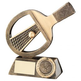 18. Brz/gold table tennis bat/net/ball trophy <br>RRP £9.99 <b>SALE PRICE£7.96</b>