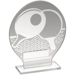 19. Ade glass round plaque with silver table tennis design trophy <br>RRP £9.99 <b>SALE PRICE £7.96</b>