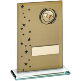 20. Gold/black printed glass rectangle with table tennis insert trophy <br>RRP £9.99 <b>SALE PRICE £7.96</b>