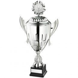 25. Large silver conical bowl with handles and lid trophy <br>RRP £46.50 <b>SALE PRICE £37.20</b>